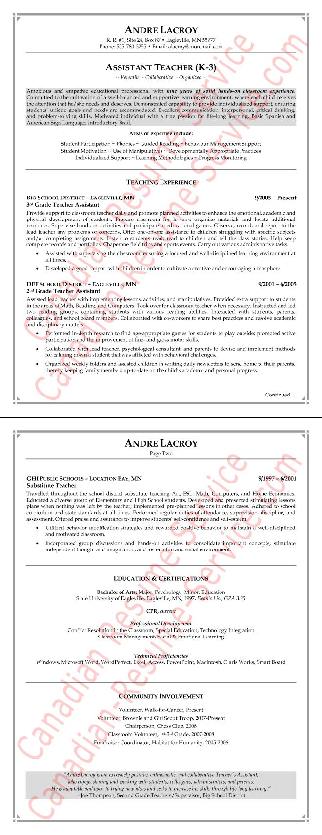 Teaching Assistant Resume Example - Sample
