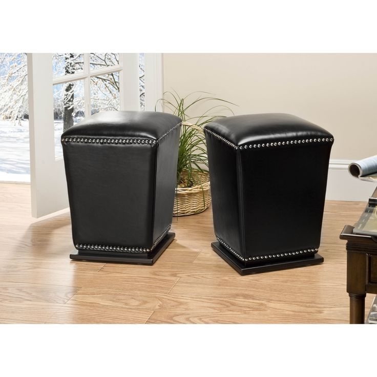 safavieh mason storage bicast leather black ottomans set of
