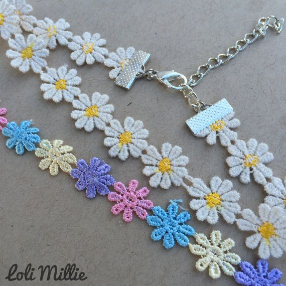 Floral Chokers Kawaii Hime Gyaru Sweet Gothic by LoliMillie