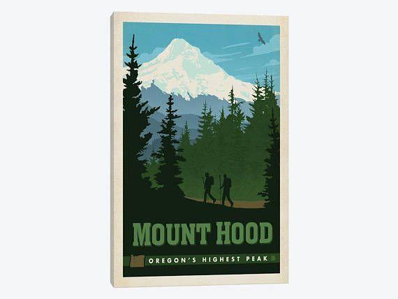 Mount Hood Art Print Mount Hood Tallest Mountain Portland Mount Hood Postcard Vintage Advertisement