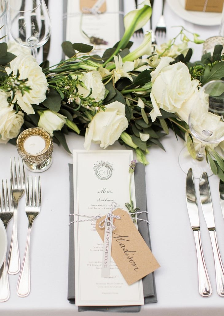 Dining tables were decorated with ivory roses accented with greenery with simple black and white menus at each setting.  I had designed the menus to sit on ... & 1300 best print. images on Pinterest | Weddings Invitations and ...
