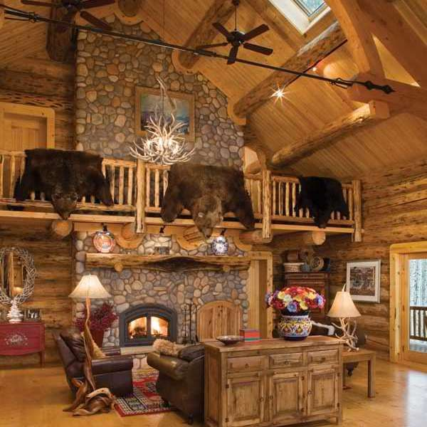 92 best log house interiors images on pinterest log for Extravagant log homes