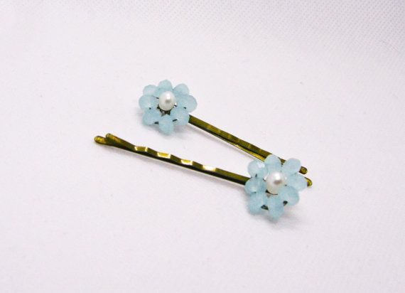 #Something Blue #Hair pins #Blue #Accessories #Bridal #Pins #Flower #Blue Flower #Crystal Flower #Flower Girl
