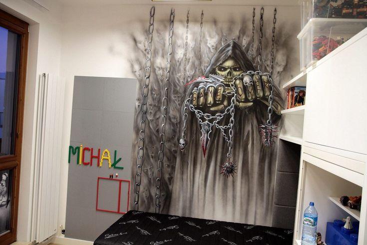 Malowanie czaszki na ścianie, mroczny mural, dark art, czaszka w pokoju młodzieżowym, pokój młodzieżowy, aranżacja ściany, graffiti w pokoju młodzieżowym, malarstwo ścienne, skull, dark art,