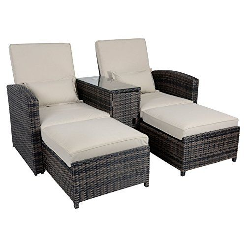 Antigua Rattan Wicker Reclining Sun Lounger Companion Chair Garden Furniture  Set