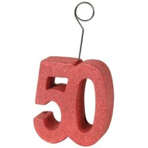 50 Red Glittered Photo/Balloon Holder