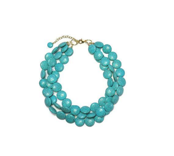 Turquoise  Necklace  3 Strand Chunky by WildflowersAndGrace