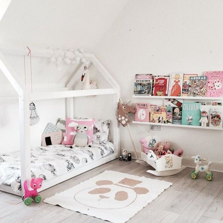 Toddler house shaped floor bed - and panda rug!                                                                                                                                                     More