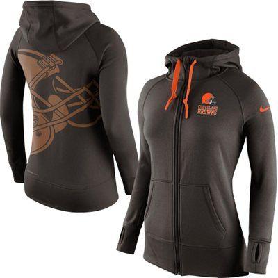 Women's Cleveland Browns Nike Brown Warpspeed All Time Full-Zip Performance Hoodie