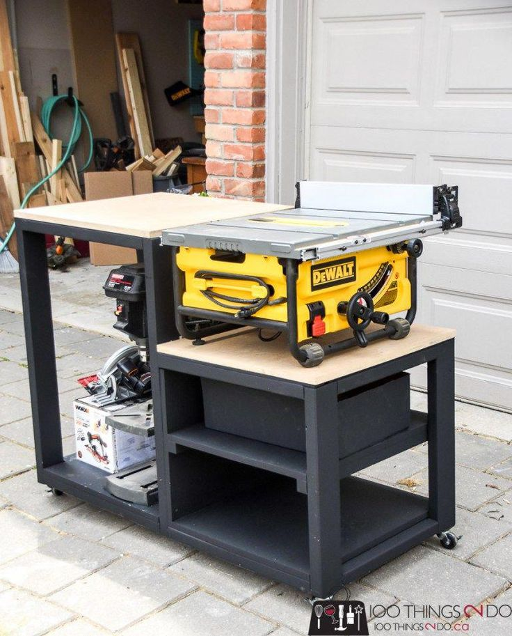 Building plans for a table saw stand, table saw station