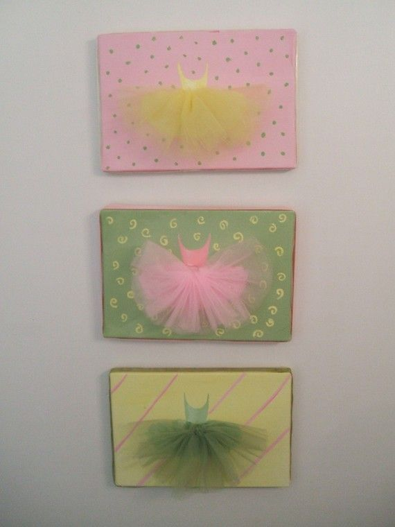Ballerina Paintings w/ Tulle Tutus by Bazor Designs
