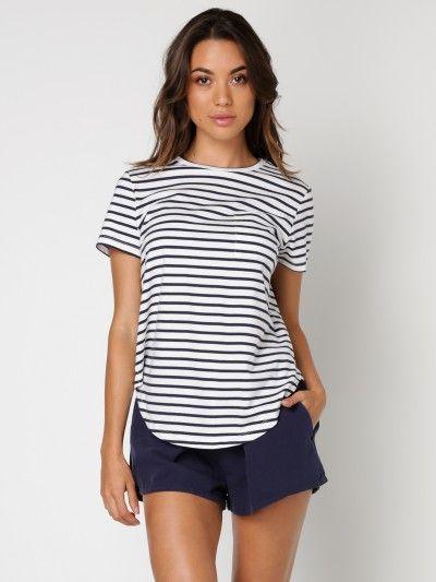 Audhild Open Back T-Shirt in White & Navy Stripe