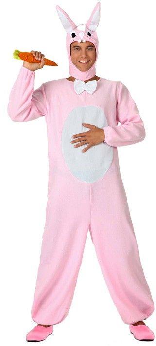 Witte en roze konijnen kostuum voor volwassenen: Dit konijnen kostuum voor volwassenen bestaat uit een pak een een muts (wortel en schoenen niet inbegrepen). Dit pak is roze met een witte buik en lijkt echt op een konijnen vacht. Het pakje heeft...