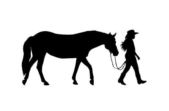 Décalque de mur Western cheval et cavalier - cow-girl