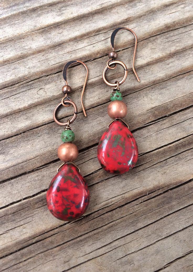 Red+Earrings+/+Red+Boho+Earrings+/+Handmade+Red+by+Lammergeier,+$20.00