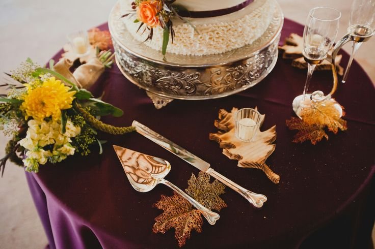 Rustic fall plum wedding cake