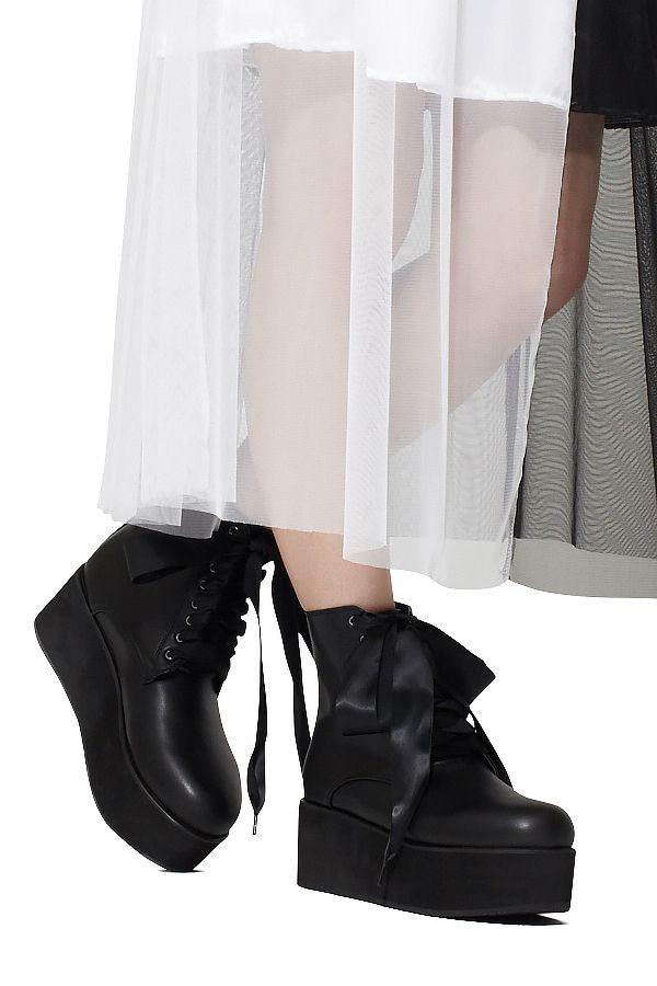 リボンレース8ホール厚底ブーツ ankoROCK(アンコロック) メンズ レディース ユニセックス ステージ 衣装