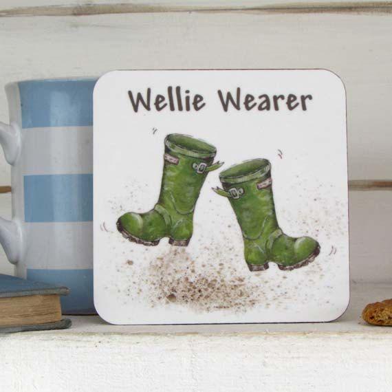 Coaster, Wellie Wearer-Green Wellies-Melamine Coaster-100mmx100mm-cork…