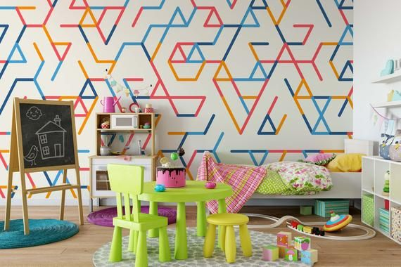 3d Colorful Lines Geometry Wallpaper Mural Peel And Stick Etsy In 2020 Feature Wall Wallpaper Wall Wallpaper Mural Wallpaper
