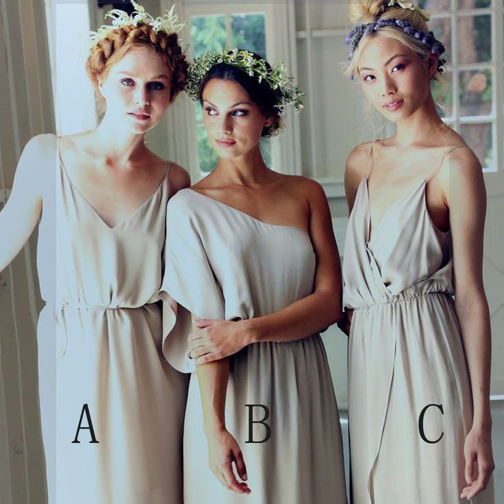 Simple Elegant Mismatched Different Styles Formal A Line Cheap Long Br – AlineBridal