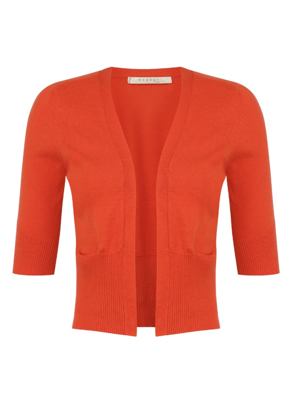 Cropped Cotton Cardigan in Vermillion