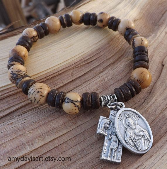 Men's Brown Rosary Bracelet St. Jude St. by AmyDavisArt on Etsy