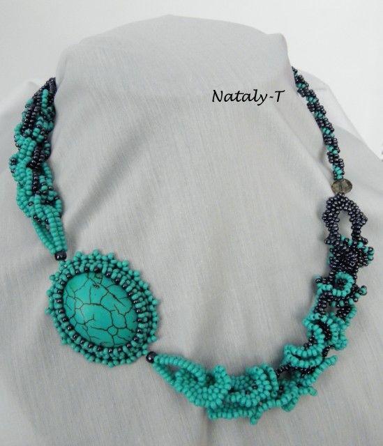 Ожерелье бирюза овальная огалала