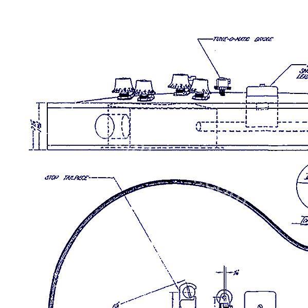 Gibson Les Paul Blueprint Drawing Drawing by Jon Neidert