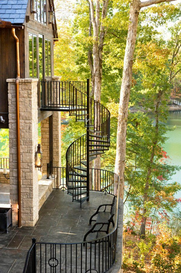 A spiral staircase connects porches and patios on separate levels!