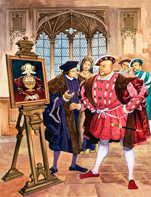 """Henry VIII viewing the portrait of Anne of Cleves. Painted by Hans Holbein, it did more than anything to """"sell"""" Henry on making her his wife."""