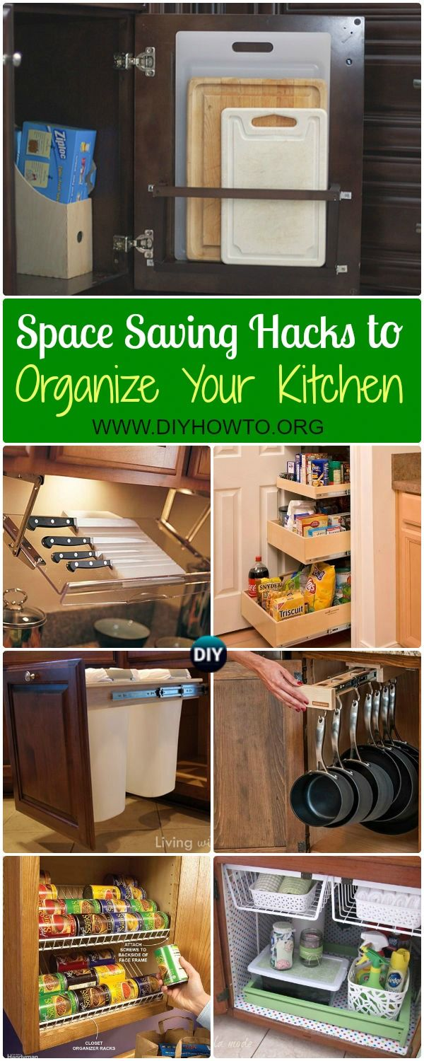 DIY Space Saving Hacks to Organize Your Kitchen: Organize Kitchen Cabinet, Under Sink, Above Fridge, Cookware, Maximize Kitchen Spaces via @diyhowto