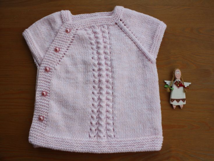 PİNK BABY VEST. Hand-Knitted Vest, Pink Vest, Baby Size For 6-9 Months, Buttons with Pink Pearl