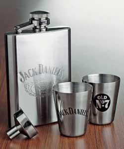Jack Daniel's flask & a pair of shot glasses