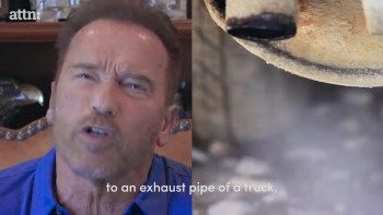 """WATCH: Schwarzenegger wants to send climate skeptics to the 'gas chambers'  Arnold SchwarzeneggerIn a new YouTube video, Arnold Schwarzenegger wants to """"terminate"""" #Climate Change skeptics. In the video, the former California governor and #Hollywood actor has once again threatened global warming skeptics with death, saying he """"would like to strap their mouth to the exhaust pipe of a truck,"""