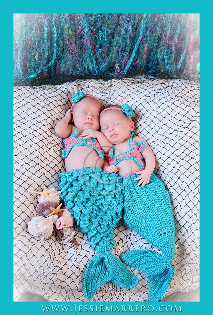 Newborn Twins, Twin Baby Girls, Crochet Props, Crochet Mermaid props