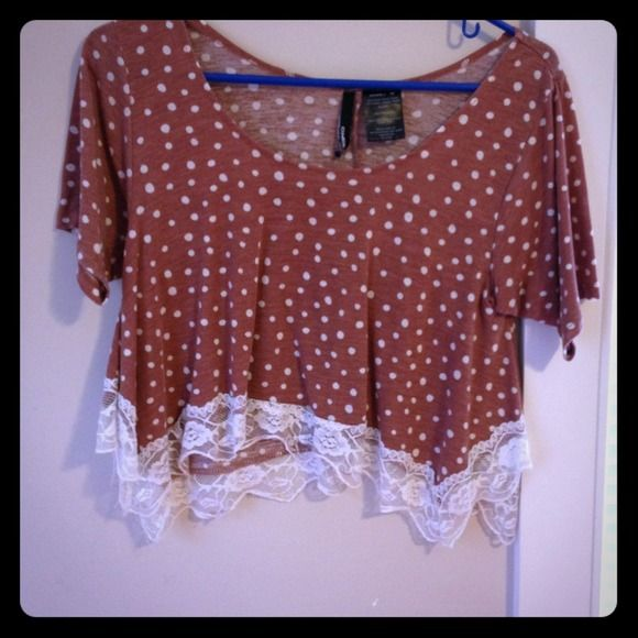 Cute belly shirt Brown with polka dots - belly shirt O'Neill Tops
