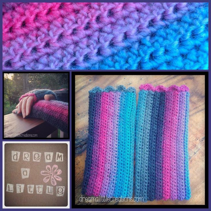 Handmade by @dream a little  Crocheted arm warmers! Gorgeous pink, blue, purple and black shades. Made with washable wool and polyamide. Size med/large.