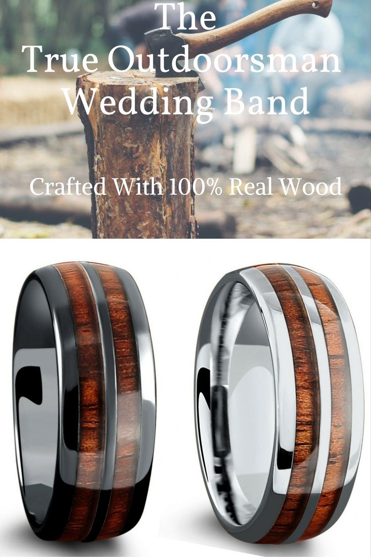 Mens wood wedding rings. These mens wedding rings are extremely durable and 100% waterproof. These make the perfect wedding bands for the outdoorsman type of man!
