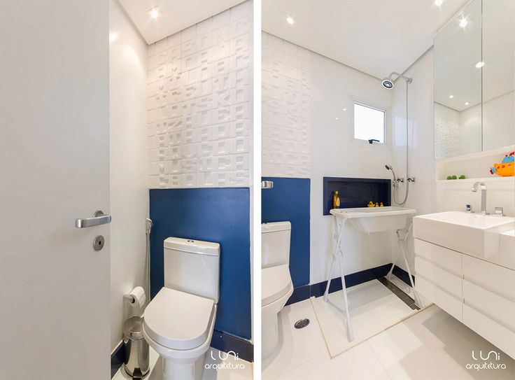 pastilhas e revestimento para banheiro Banheiro de Bebe Azul arquitetura e co -> Revestimentos Para Banheiro Com Banheira