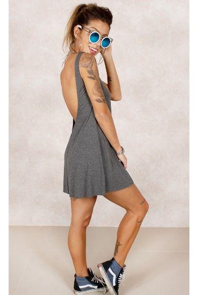 Vestido Sassi Basic Grafite Fashion Closet - fashioncloset