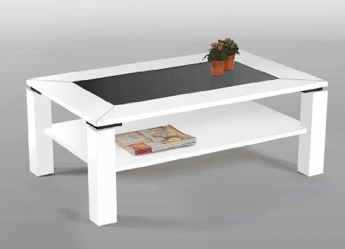 Couchtisch 110 cm mit Glaseinlage schwarz & Ablage MDF / Glas Dekor wählbar, Dekor/Front:Weiß | Moderner Couchtisch