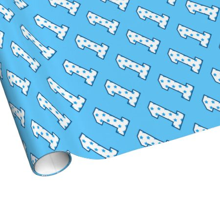 Blue Stars One Year Old 1st Birthday Boy Gift Wrap Paper Jaclinart