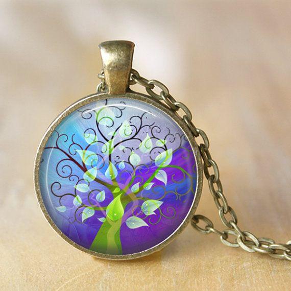 TREE OF LIFE  Necklace Glass Pendant Tree of by LiteraryArtPrints