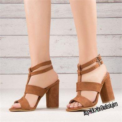 84d4d995cf063 Mameri Süet Taba Rengi Kalın Topuklu Ayakkabı | ayakkabılar ...