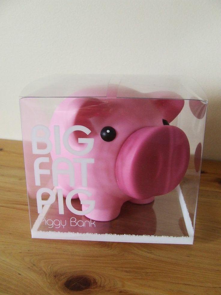 Kids piggy bank money box 39 big fat pig 39 light pink for Childrens piggy bank