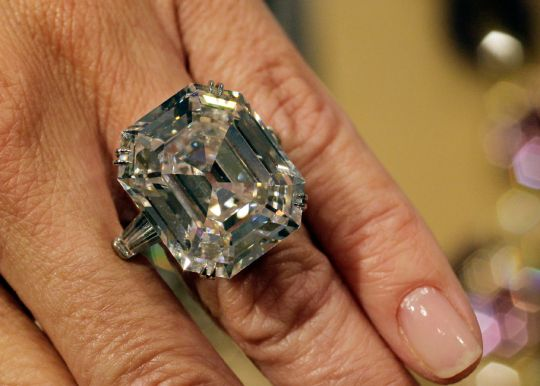 """""""The Elizabeth Taylor Diamond,"""" from her estate, is a 33.19 carat, D color, VS1 clarity diamond, given to Taylor by Richard Burton and estimated at $2500000.00 - $3500000.00. It is shown in this photograph at Christie's in New York, Thursday, Sept. 1, 2011. Christie's auction house is selling the Hollywood legend's complete jewelry collection in New York on Dec. 13-14."""