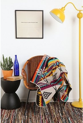pendleton blanket + yellow lamp