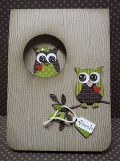 cute owl card - try with the new wood embossing folder in the Stampin' Up! Holiday mini! http://sarahhealey.stampinup.net