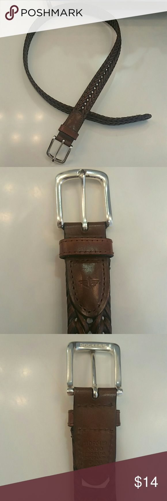"""Dockers braided leather belt Brown braided leather belt, no issues, worn twice.  Like new condition. Leather is 42"""" from end to tip. Buckle is silver toned. Dockers Accessories Belts"""
