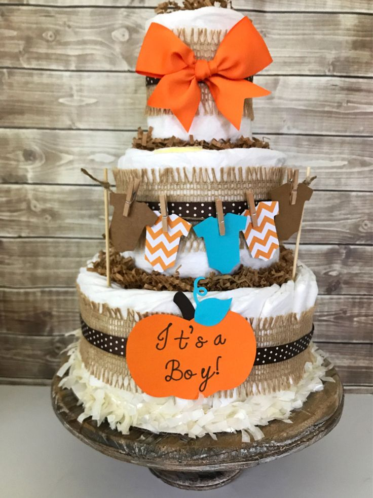 Fall Themed Baby Shower Cakes Part - 20: Itu0027s A Boy Fall Diaper Cake, Fall Boy Diaper Cake, Itu0027s A Boy Baby Shower  Centerpiece